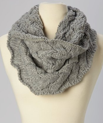 Gray Braided Knit Infinity Scarf