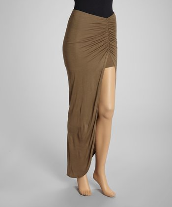 Taupe Side-Slit Pickup Maxi Skirt