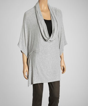 Gray Cowl Neck Cape-Sleeve Top