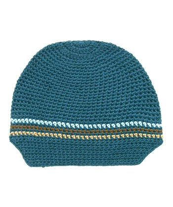 Blue Stripe Knit Newsboy Cap