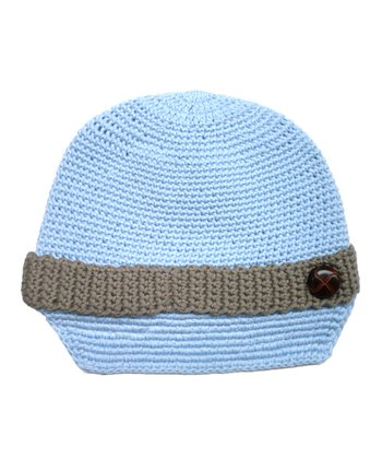 Blue Button Knit Newsboy Cap