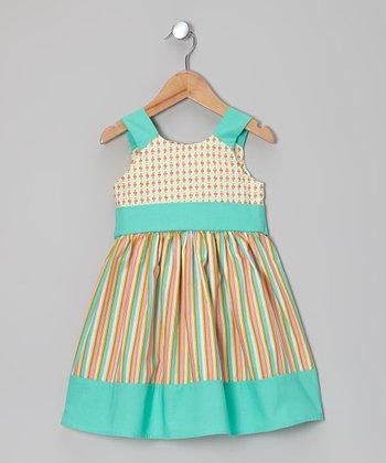 Pink Flower Stripe A-Line Dress - Toddler & Girls