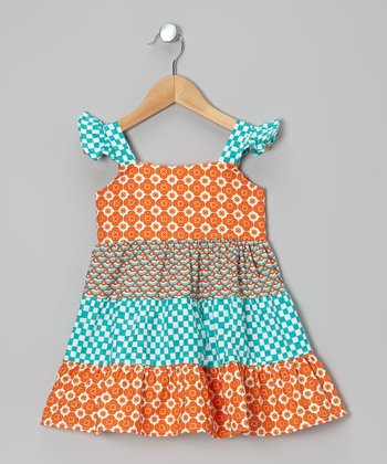 Orange & Turquoise Flower Tier Dress - Toddler & Girls
