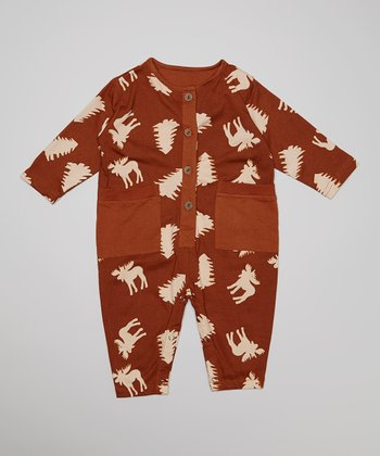 Brown & Cream Moose Playsuit - Infant