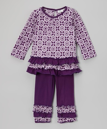 Purple & White Floral Ruffle Tunic & Pants - Infant, Toddler & Girls