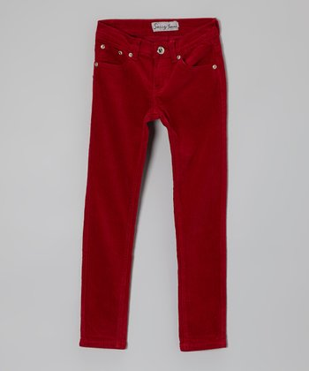 Red Corduroy Pants - Girls