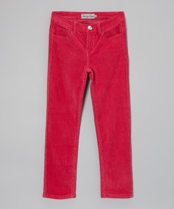 Fuchsia Corduroy Pants - Girls