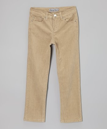 Khaki Corduroy Pants - Girls