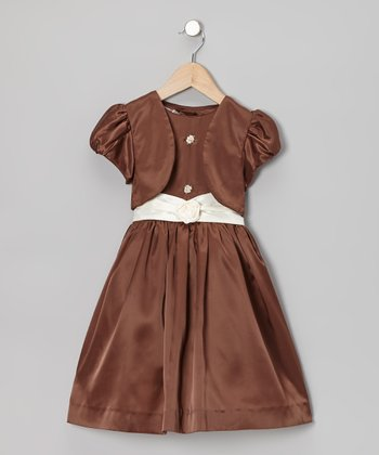 Brown Party Dress & Vest - Toddler & Girls