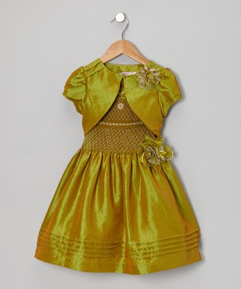 Green Party Dress & Vest - Toddler