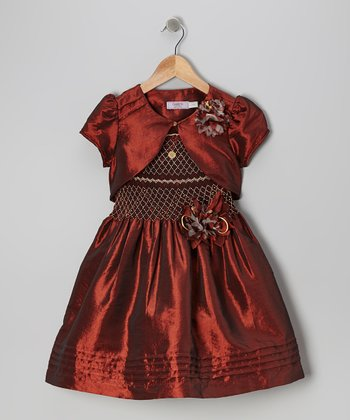 Burgundy Party Dress & Vest - Toddler