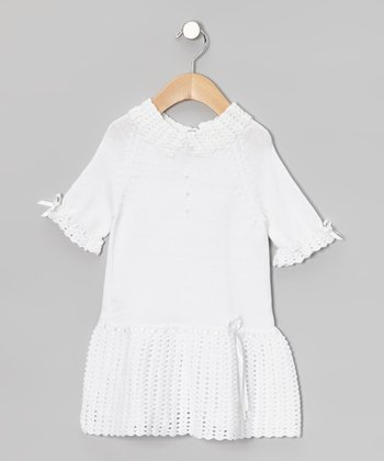 White Ribbon Crochet Dress - Infant