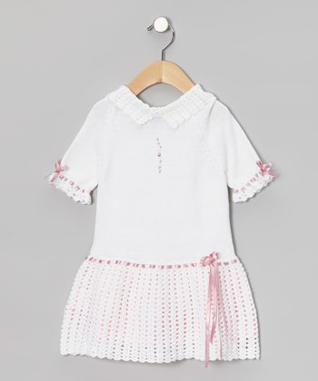 White & Pink Classy Crochet Dress - Infant & Toddler