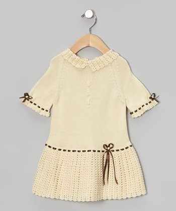 Vanilla & Brown Crochet Dress - Infant & Toddler