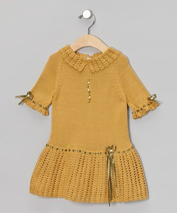 Mustard & Olive Green Ribbon Crochet Dress - Toddler