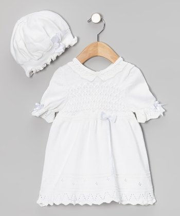 White Crochet Bolero Dress & Bonnet - Infant & Toddler