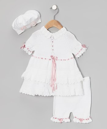 White & Pink Ribbon Crochet Bolero Dress Set - Infant