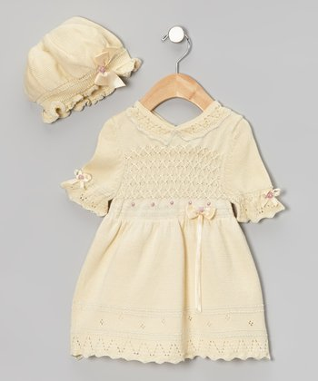 Vanilla Crochet Melody Dress & Bonnet - Infant & Toddler