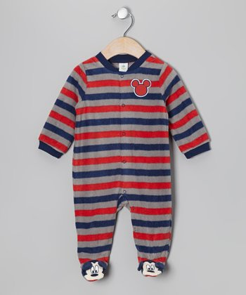 Navy & Red Stripe Mickey Mouse Footie - Infant