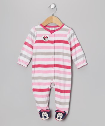 Pink & Gray Stripe Minnie Mouse Footie - Infant