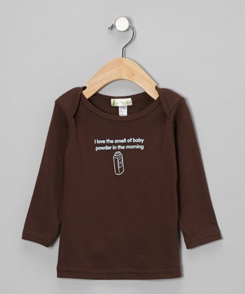 Brown 'Smell of Baby Powder' Long-Sleeve Lap Neck Tee - Infant