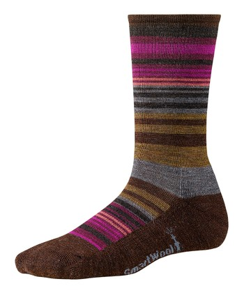 Espresso Heather Jovian Stripe Wool-Blend Crew Socks - Women
