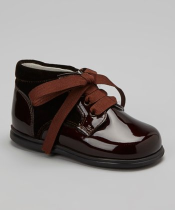 Brown Patent Leather & Velvet Shoe