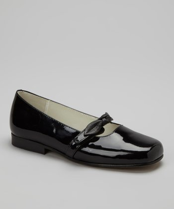 Black Patent Leather Bow Flat