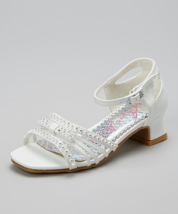 White Embellished Open-Toe Shoe