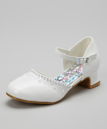 White Patent Embellished Shoe