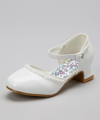 White Patent Embellished Edge Shoe