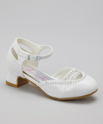 White Patent Embellished Cutout Strappy Shoe
