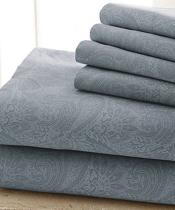 Coronet Blue Damask Sheet Set