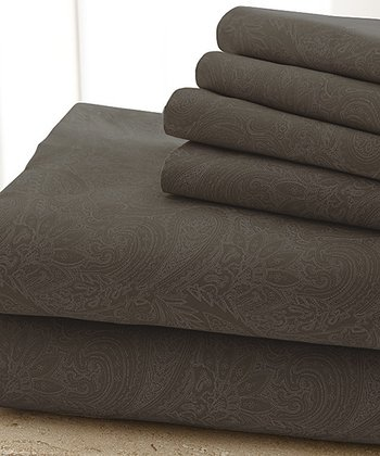 Chocolate Damask Sheet Set