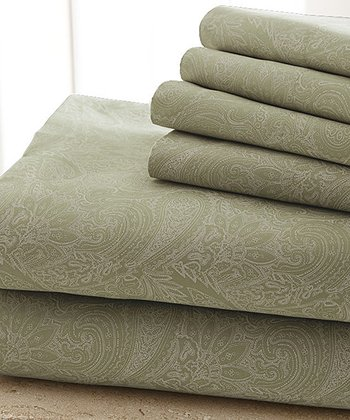 Sage Damask Sheet Set