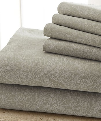 Taupe Damask Sheet Set