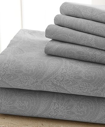 Gray Damask Sheet Set