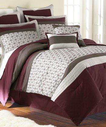 Chantal Red Embroidered Comforter Set
