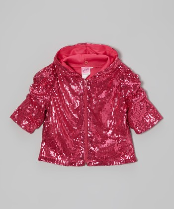 Pink Sequin Ruched Zip-Up Hoodie - Girls