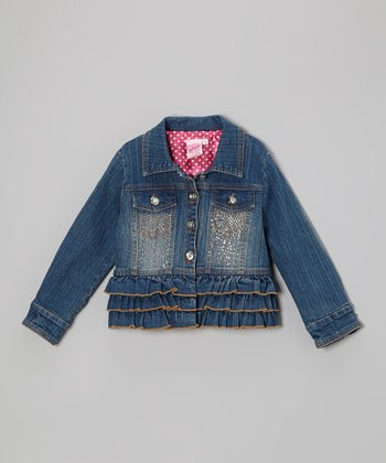 Medium Wash Ruffle Denim Jacket - Girls