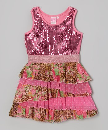 Pink Floral & Leopard Ruffle Dress - Toddler & Girls
