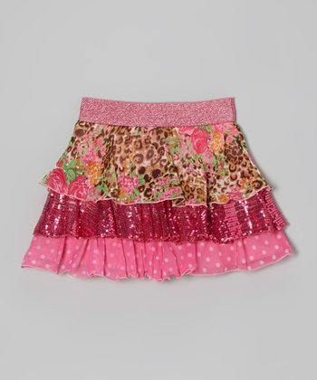 Pink Floral & Leopard Tiered Ruffle Skirt - Toddler & Girls