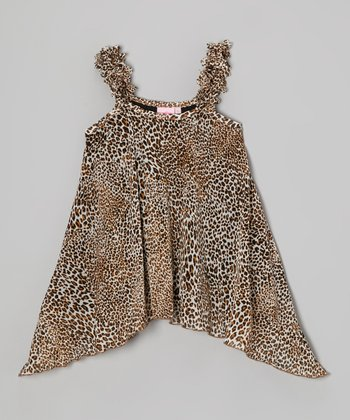 Tan Leopard Sidetail Tank - Girls