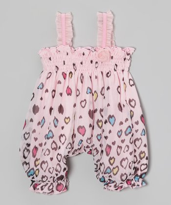 Light Pink Heart Shirred Romper - Infant