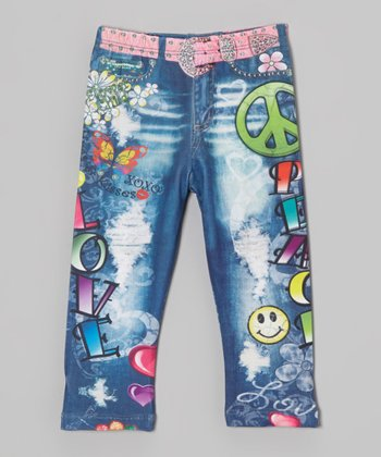 Denim 'Love' Sublimation Jeggings - Infant