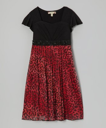 Red & Black Glitter Cheetah Dress - Girls