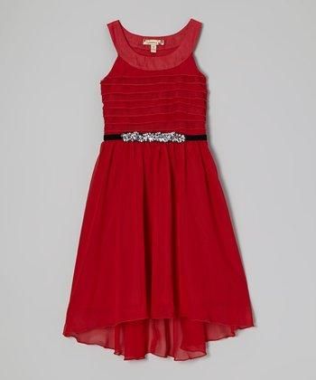 Red Rhinestone Hi-Low Dress - Girls
