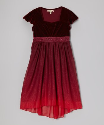 Red Velvet Glitter Hi-Low Dress - Girls
