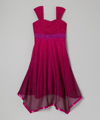 Berry Glitter Handkerchief Dress