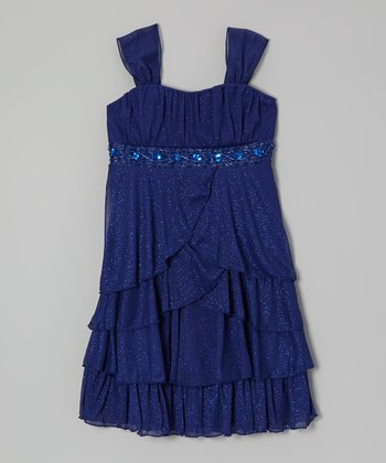 Navy Sparkle Tiered Ruffle Dress - Girls